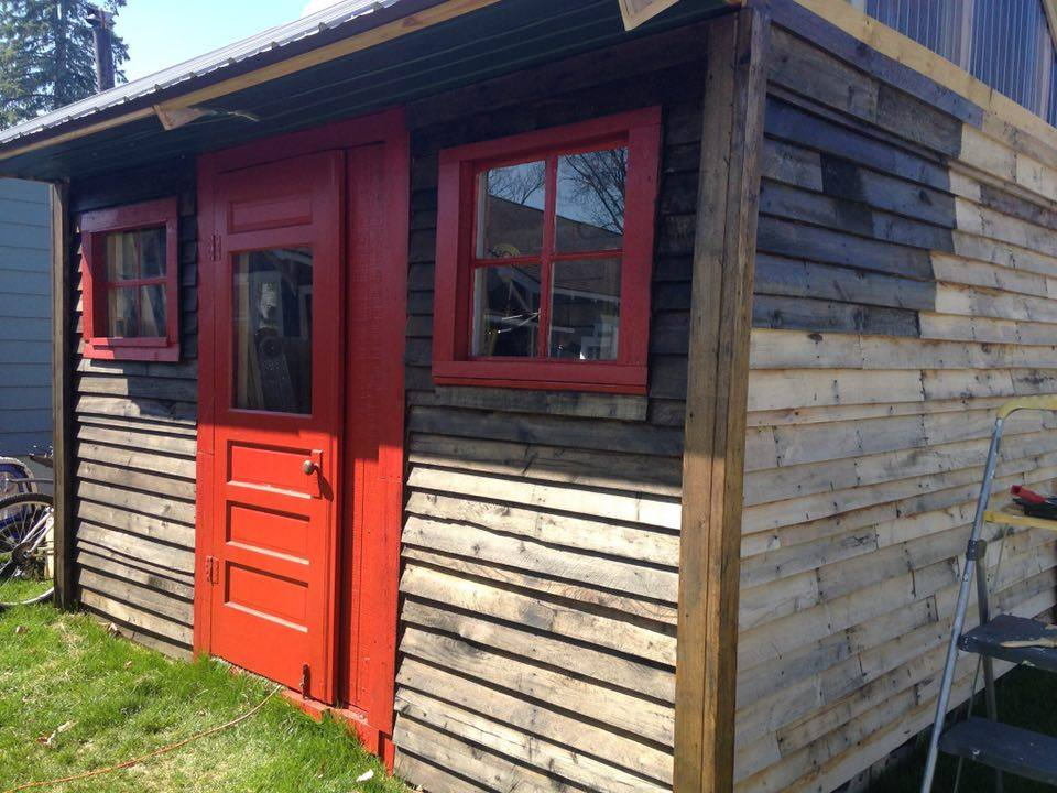Red Painted Plywood Sheds