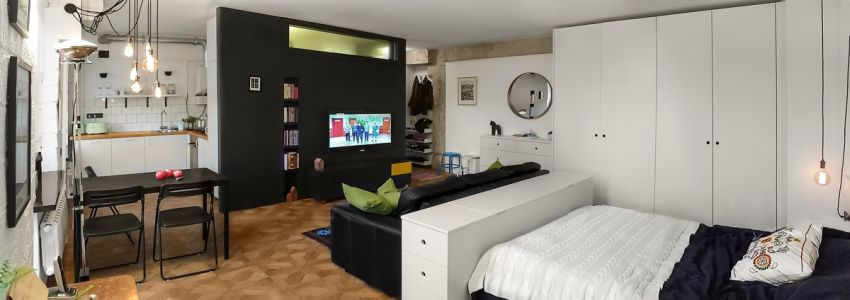 Case study home designs for apartments under 50 square for Living room 10 square meters