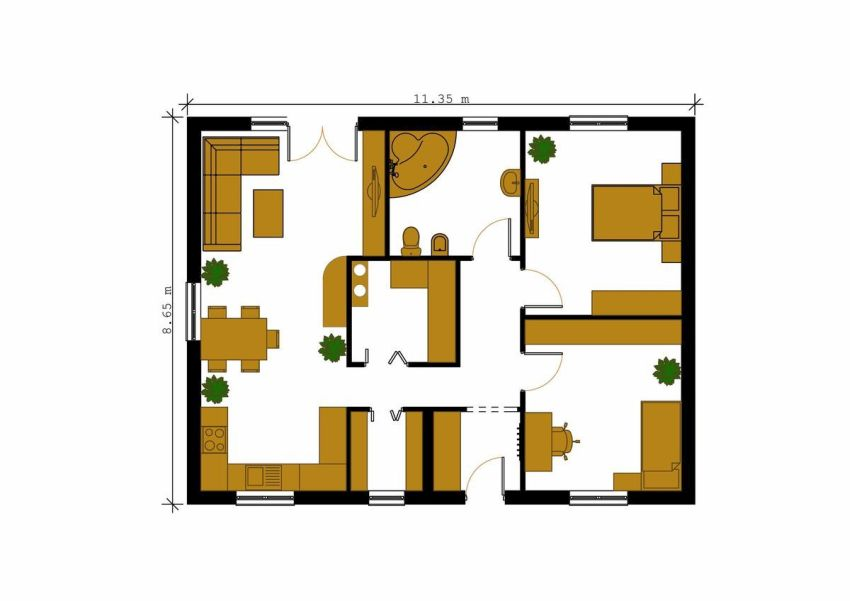 Case cu parter si doua dormitoare Two bedroom house plans 4