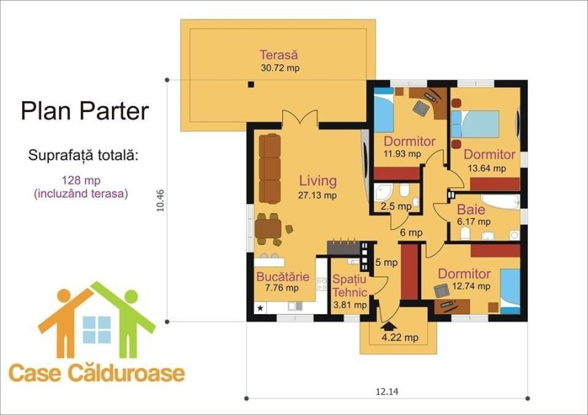 case cu parter si 3 dormitoare three bedroom house plans 8