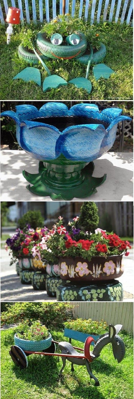 Old tire outdoor ornaments 17 tasteful recycling ideas for How to use old tires in a garden
