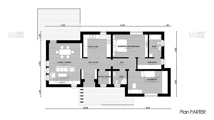 ... Proiecte De Case Fara Etaj Cu 2 Dormitoare Two Bedroom Single Story  House Plans 4