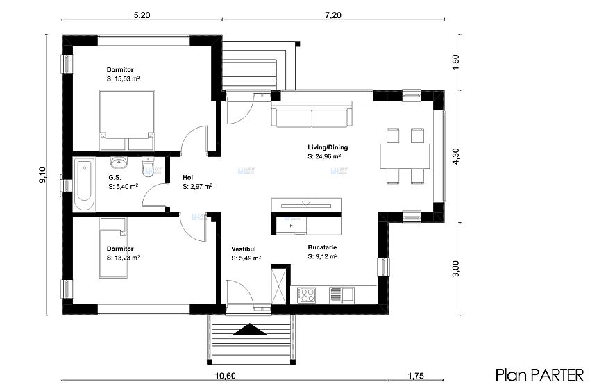 proiecte de case mici pe un singur nivel Small single level house plans 7