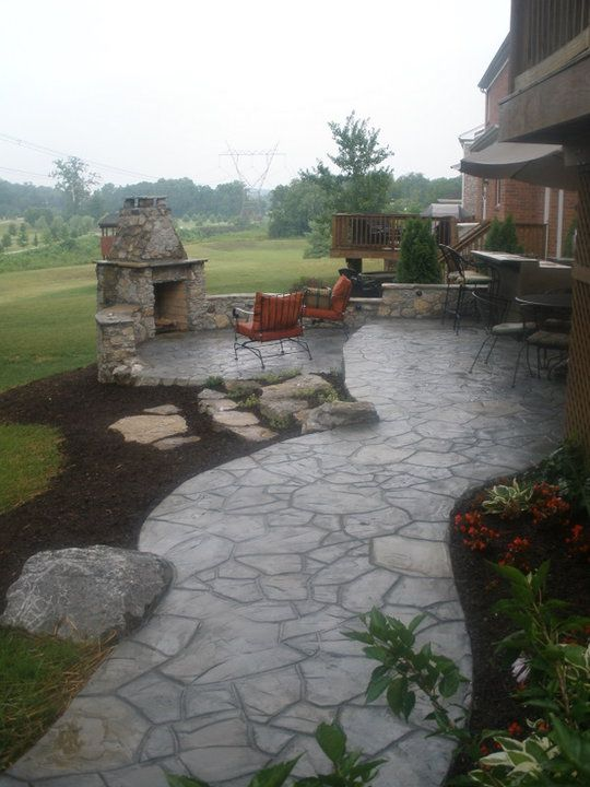 alei din beton amprentat stamped concrete walkway ideas 10