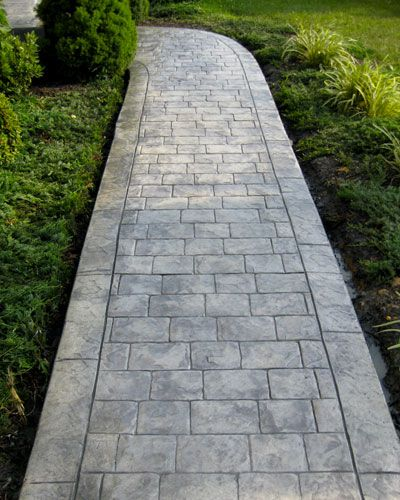 alei din beton amprentat stamped concrete walkway ideas 2