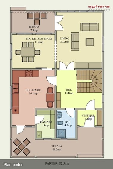 case cu terasa in spate Back patio house plans 13