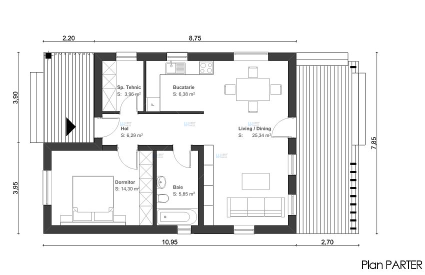 proiecte de case de 60 70 mp 60 70 square meter house plans 11 - Square House Plans