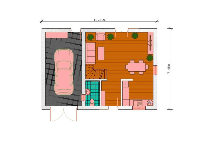 case mici, cu garaj integrat Small houses with built-in garage 9