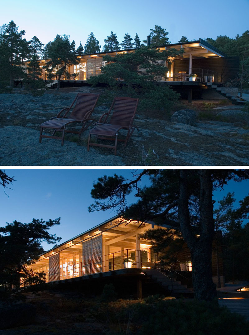 The wood cabin on the rocks