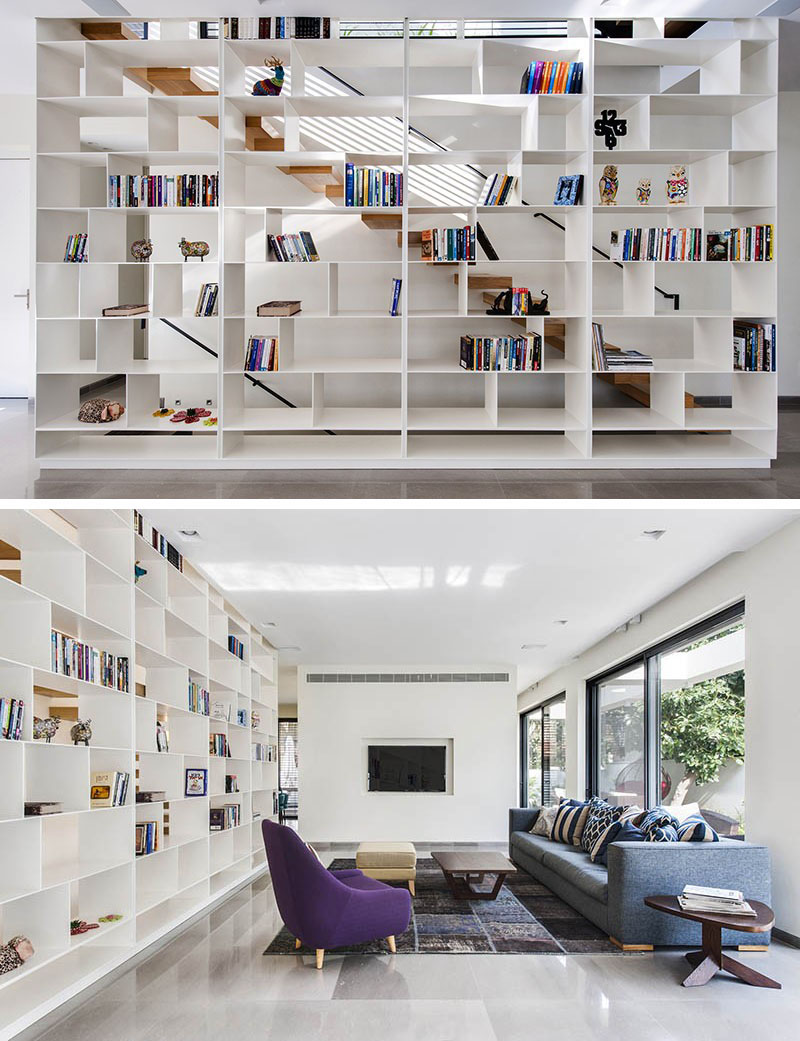 scari cu biblioteci in loc de balustrada Staircases with integrated bookshelves 1