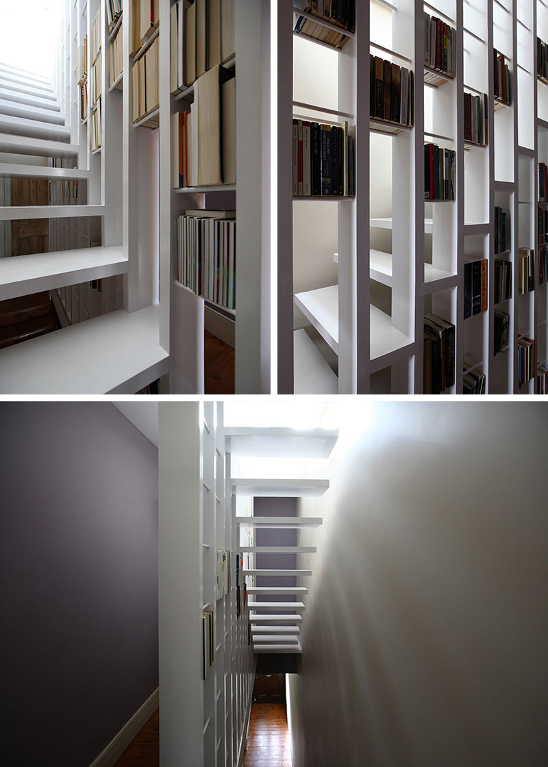 scari cu biblioteci in loc de balustrada Staircases with integrated bookshelves 3
