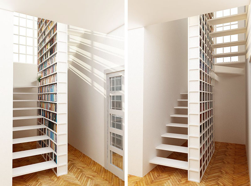scari cu biblioteci in loc de balustrada Staircases with integrated bookshelves 6