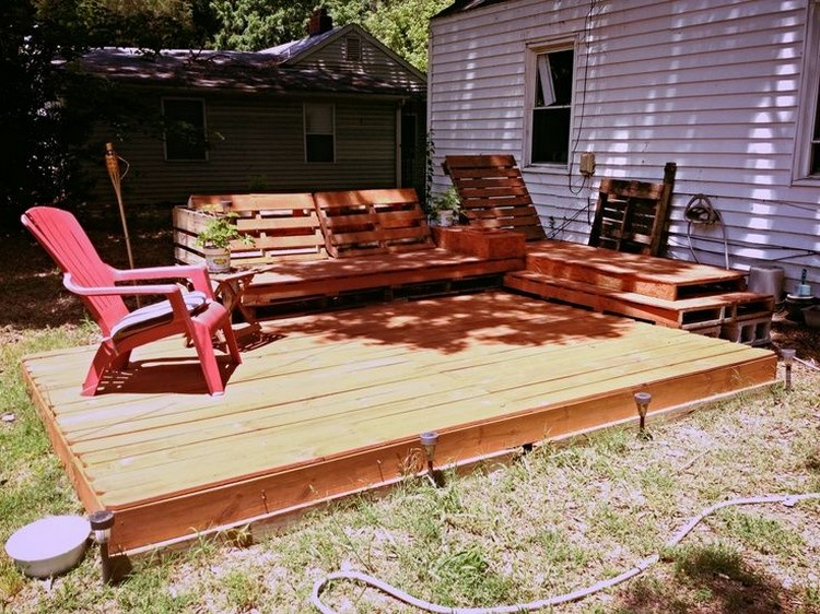 terasa din paleti Wood pallet deck ideas 20