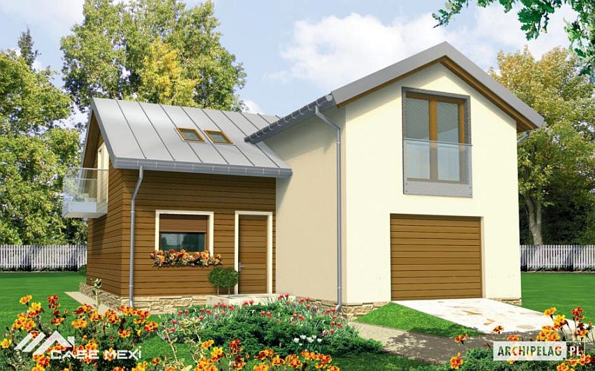 case cu etaj si garaj integrat Two story flat roof houses with garage 1