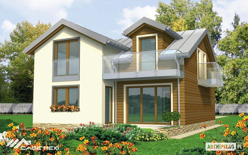 case cu etaj si garaj integrat Two story flat roof houses with garage 2