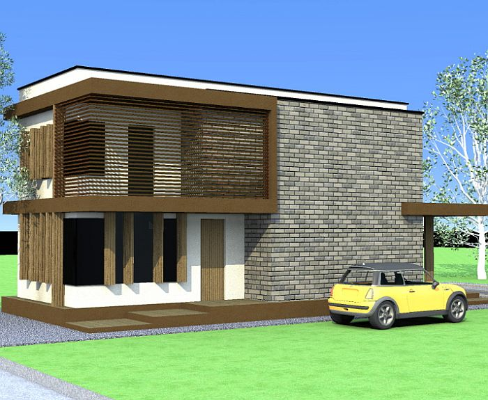 case ieftine cu etaj Cheap flat roof house plans 14