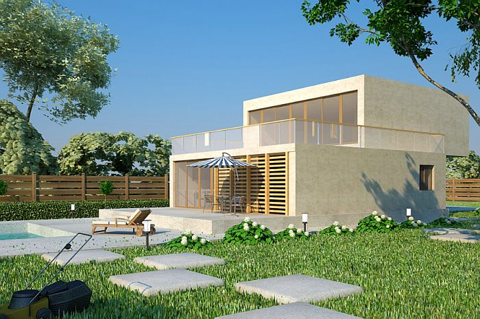 case ieftine cu etaj Cheap flat roof house plans 6