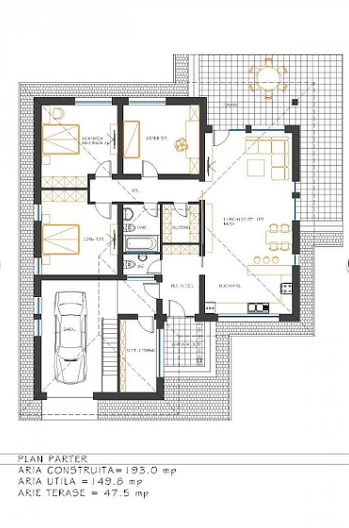 Proiecte de case economice cu 3 dormitoare case practice for Cheap house floor plans